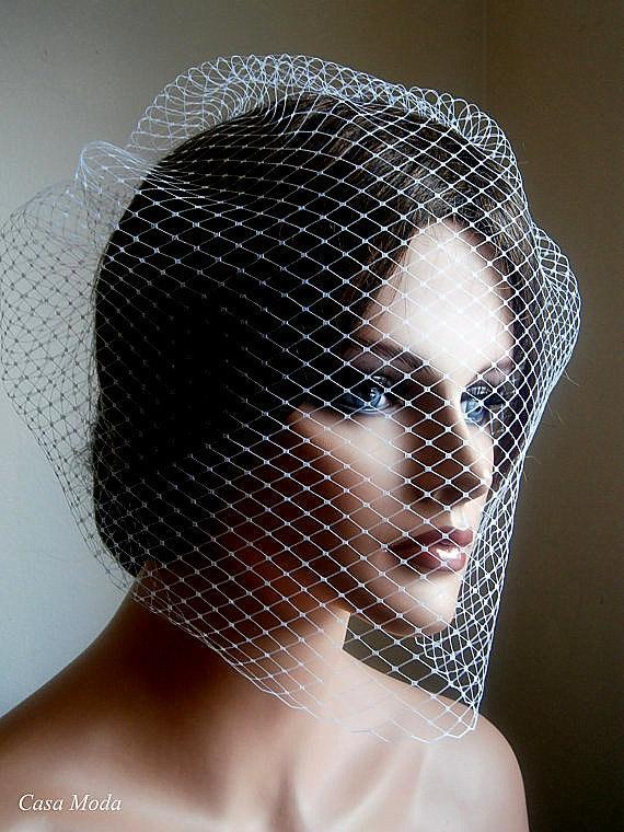 زفاف - Full Birdcage Veil White Wedding Veil in White Color 18 Inches