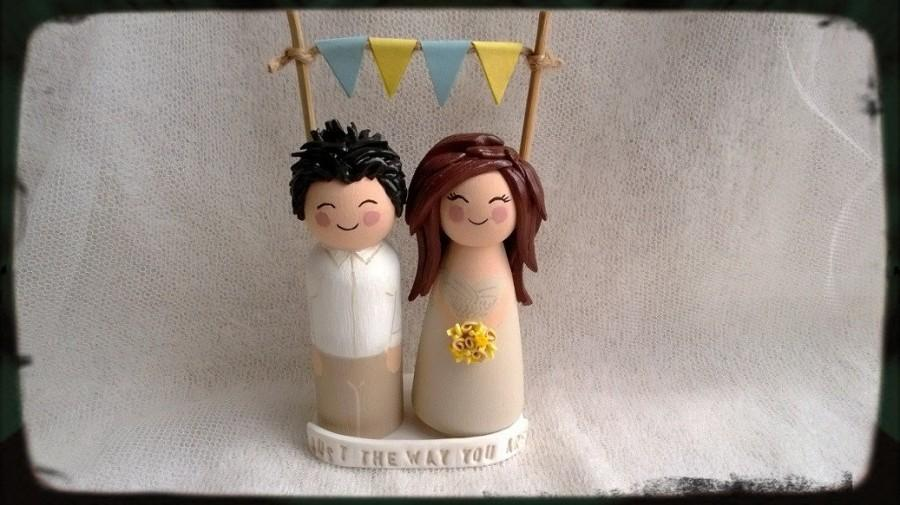 Wedding - Personalised Wood and Clay Kokeshi Bride and Groom Wedding Cake Toppers FREE Base & Bunting - Created to resemble you on your wedding day.