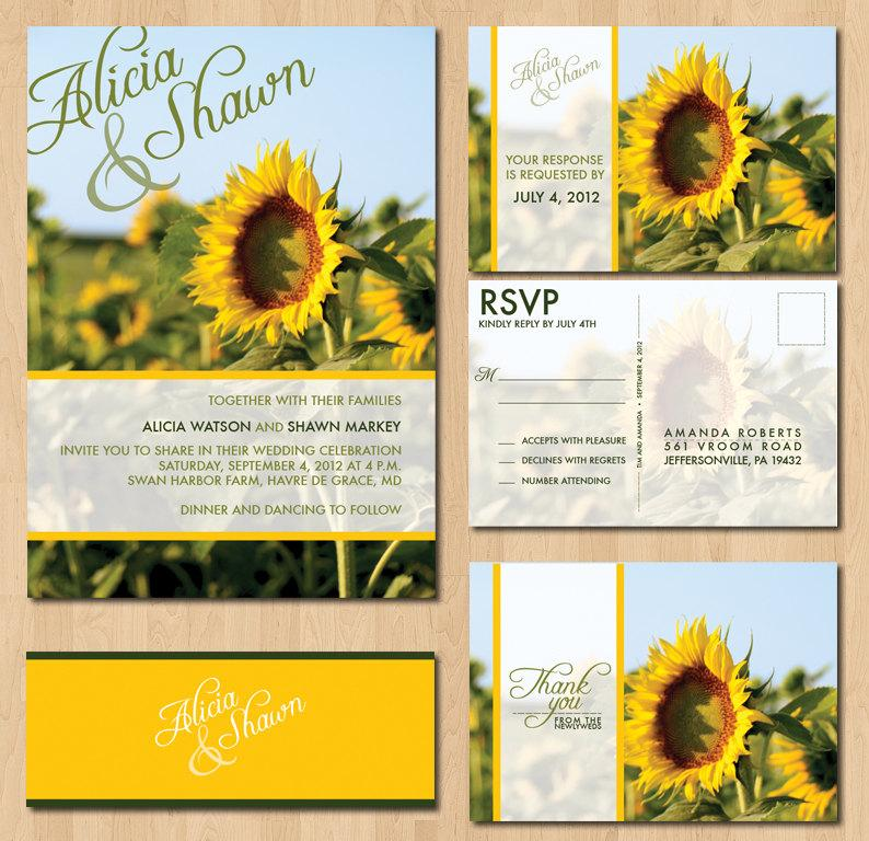 Hochzeit - Printable Sunflower Wedding Invitations : InkOVERpaper Invitations