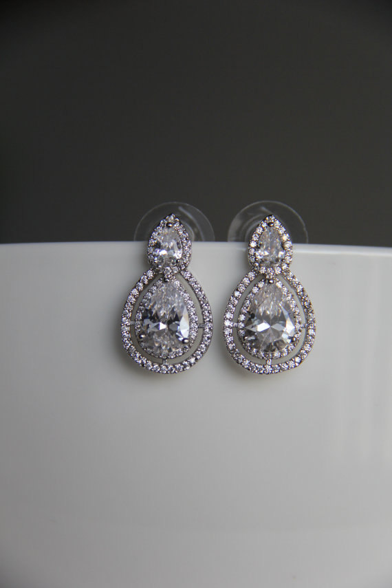 زفاف - Bridal earrings, cz earrings, wedding earrings, bridesmaid earrings, bridal jewelry, wedding jewelry, cz jewelry, dangley earrings