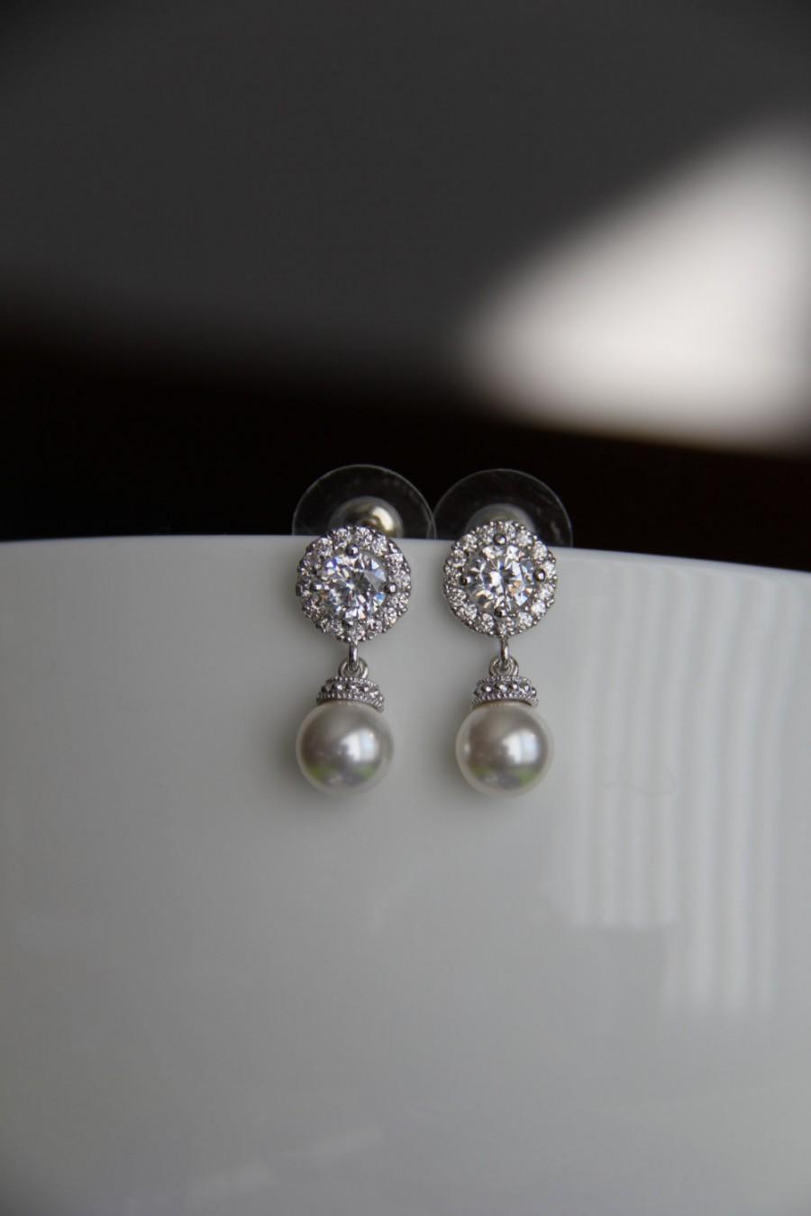 زفاف - Bridal earrings, cz earrings, wedding earrings, bridesmaid earrings, bridal jewelry, wedding jewelry, cz jewelry, dangley earrings