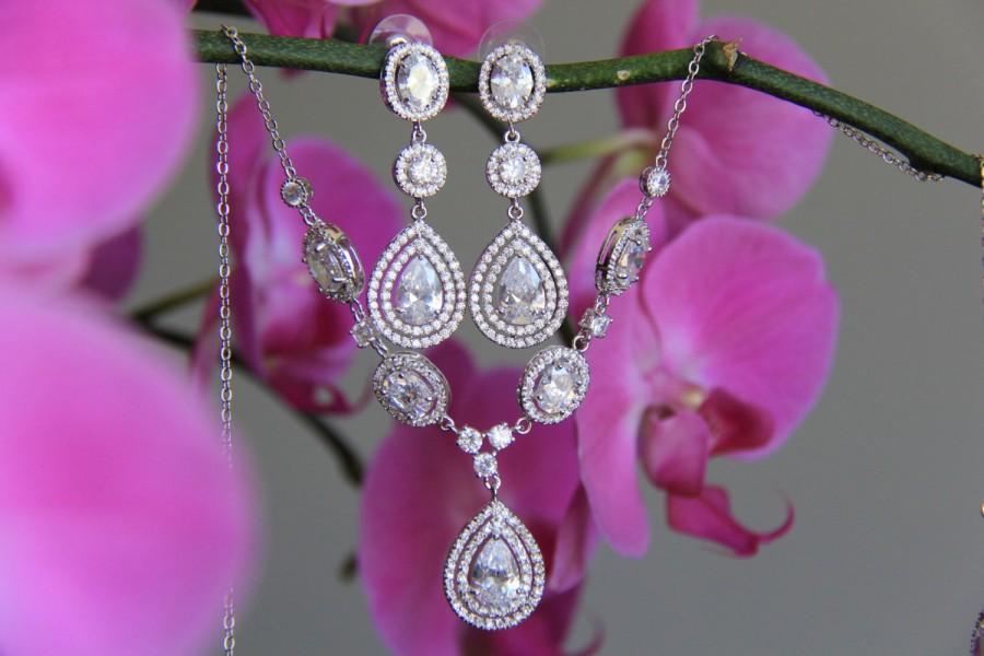 زفاف - Bridal jewelry set - necklace and earrings, wedding,CZ jewelry, wedding jewelry, bridal jewelry, wedding necklace, wedding earrings