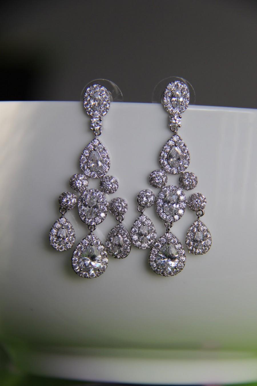 Hochzeit - Bridal earrings, cz earrings, wedding earrings, bridesmaid earrings, bridal jewelry, wedding jewelry, cz jewelry, dangley earrings