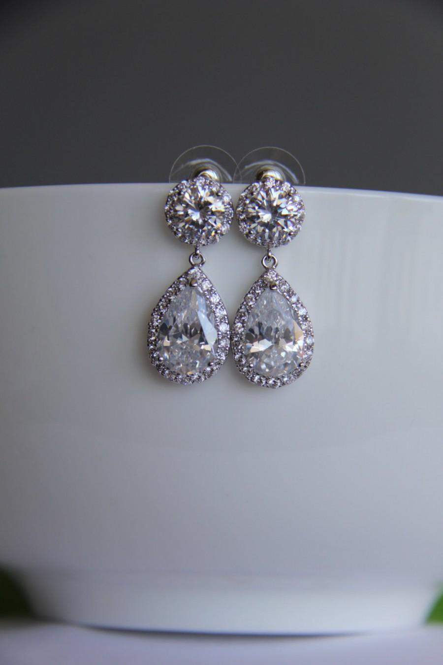 Mariage - Bridal earrings, cz earrings, wedding earrings, bridesmaid earrings, bridal jewelry, wedding jewelry, cz jewelry, dangley earrings