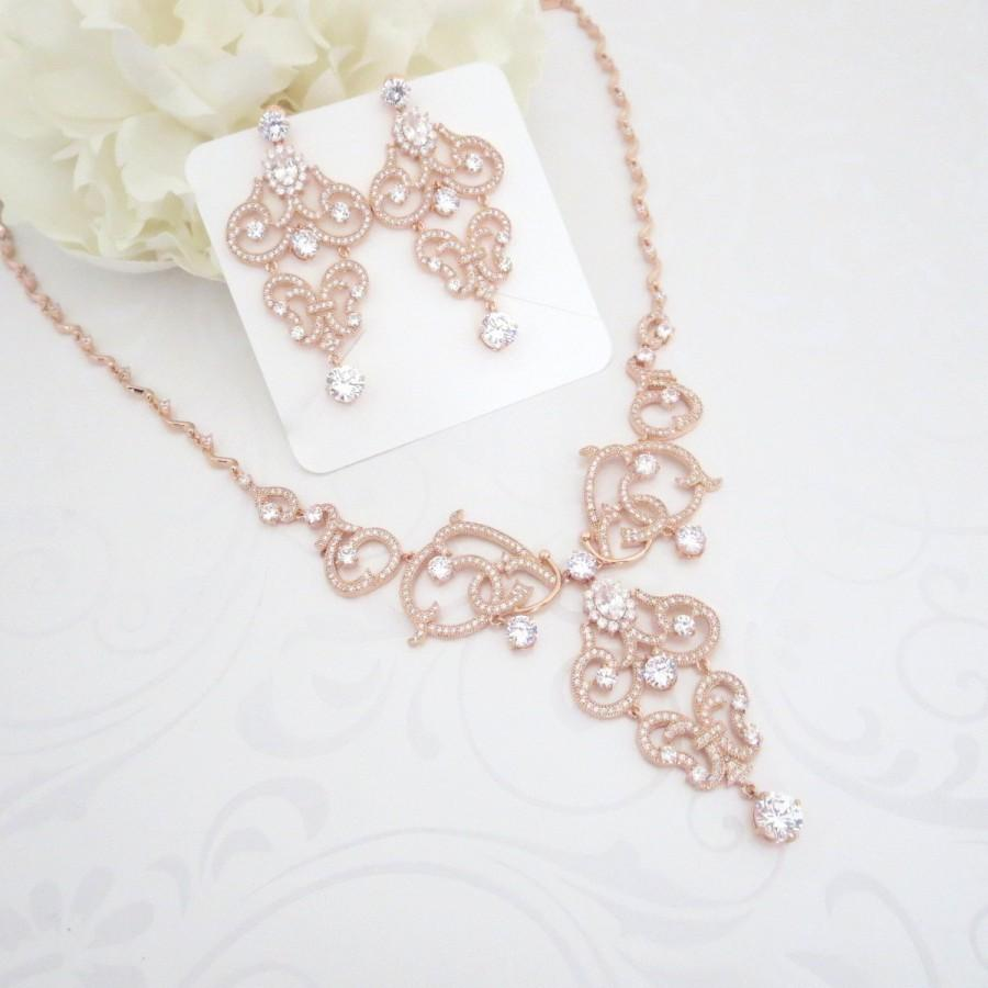 Rose Gold Necklace Crystal Bridal Wedding Jewelry Set Statement Chandelier Earrings