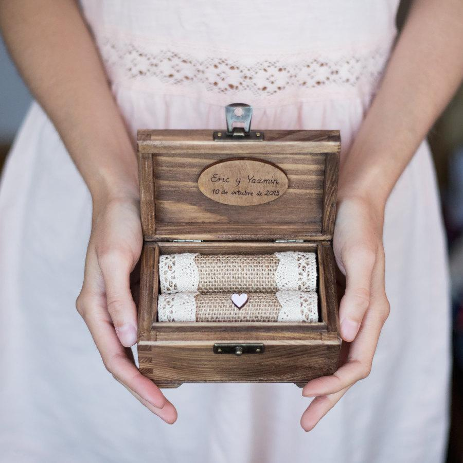 Personalized wedding ring box wooden ring holder with for Cute engagement ring boxes