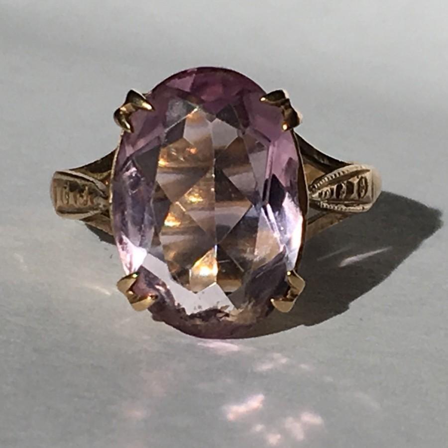 Vintage Amethyst Ring In 9k Yellow Gold 4 Carat Amethyst Unique