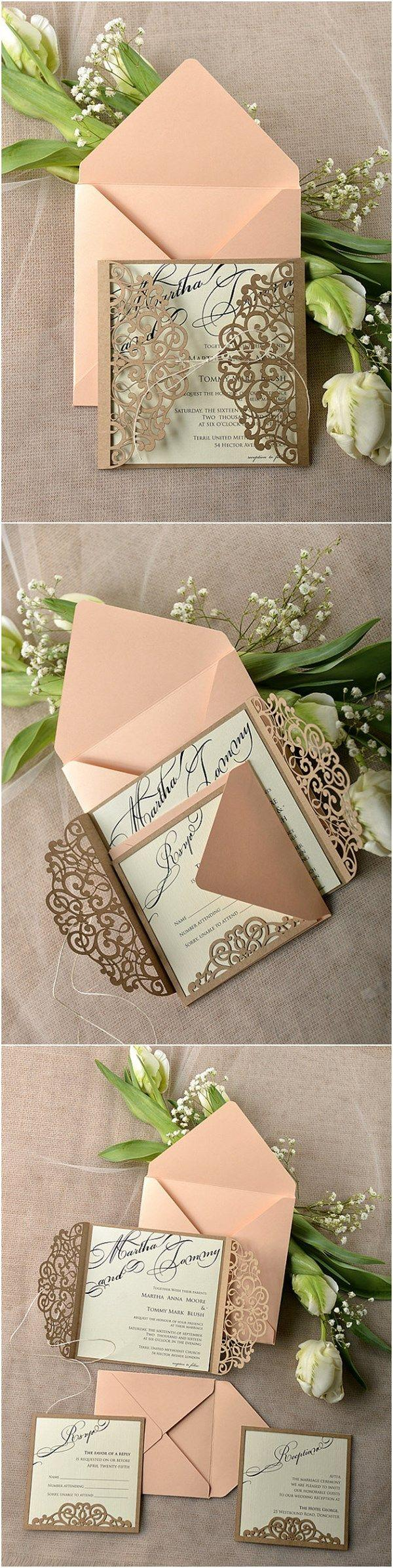 زفاف - Eco Peach Rustic Laser Cut Wedding Invitation Cards