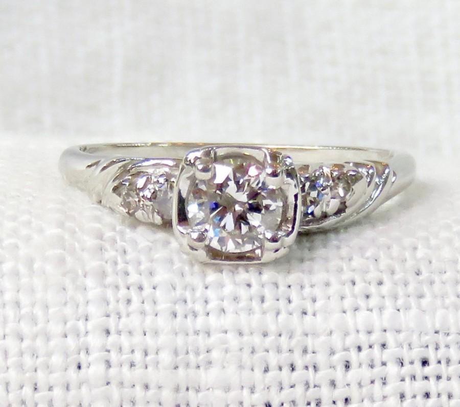 Свадьба - Vintage 14k Gold Diamond Engagement Ring .54 Carats