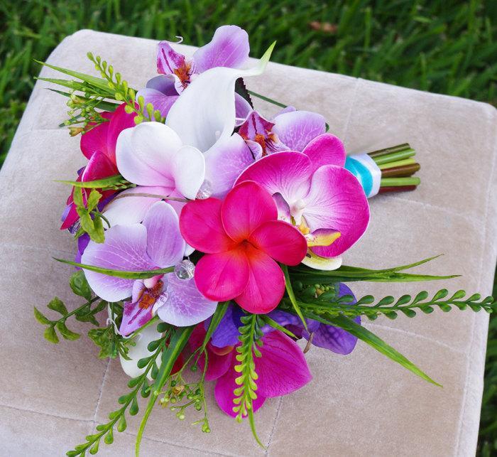 Mariage - Wedding Silk Plumeria Bouquet - Fuchsia and Lilac Natural Touch Orchids and Plumerias Silk Bridal Bouquet