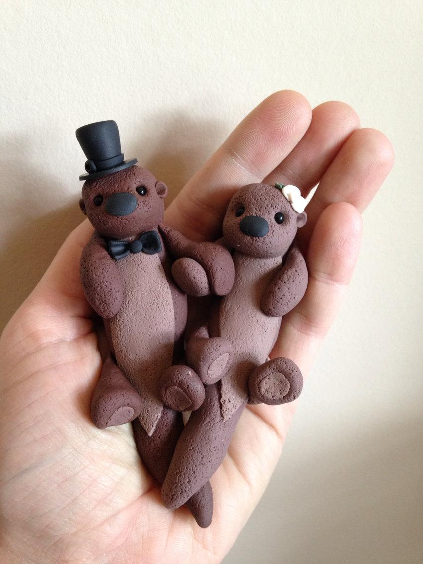 Hochzeit - Sea Otters custom wedding cake topper