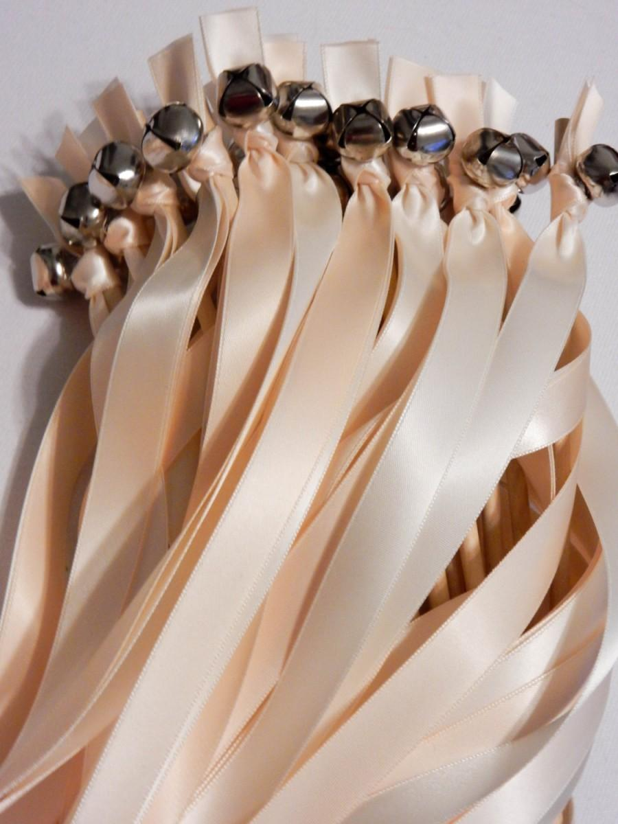Hochzeit - 75 Wedding Ribbon Bell Wands ~ Send Off Bells  ~ Wedding Wands ~ Bell Wands ~ Kissing Bells ~  Bubble Alternative ~ Ribbon Wavers  ~ Favors