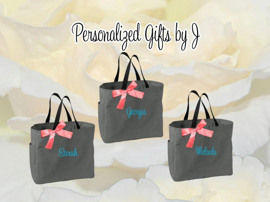 Свадьба - 2 Personalized Bridemaid Gift Tote Bags Monogrammed Tote, Bridesmaids Tote, Personalized Tote Wedding