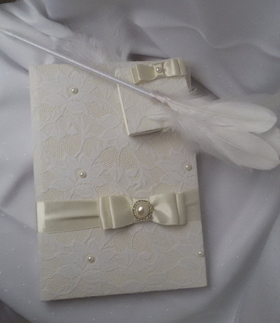 Wedding - Wedding guest book, Hand made wedding guest book, İvory lace pearl wedding, Bridal book, Guest book and pen set, Guest book and bookmarks