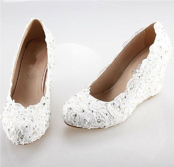 "Boda - 3"" White/ Ivory Lace Wedding Wedge, Custom Any Color Lace Wedding Wedge. Lace Brdial Wedge In Handmade"