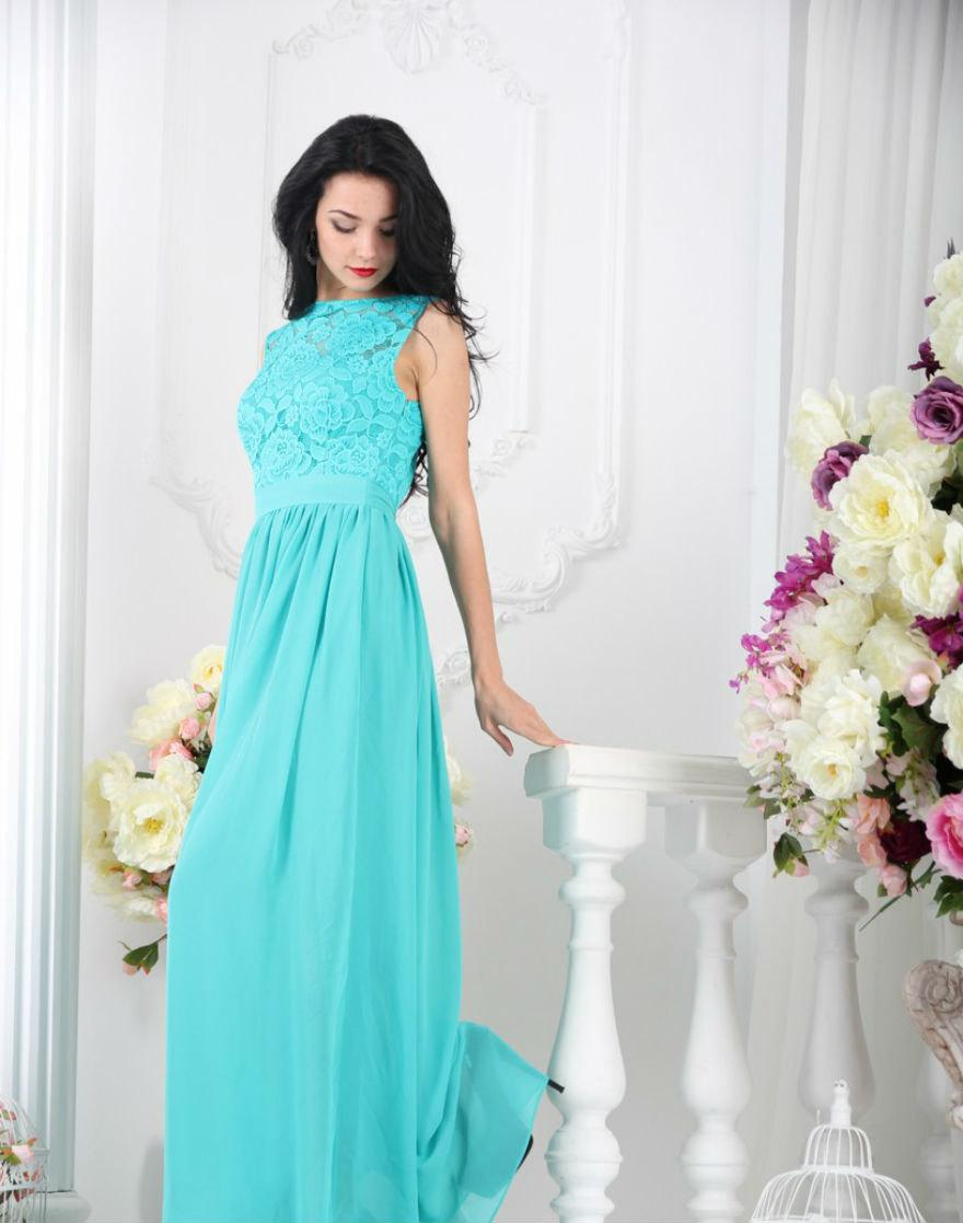 Bridesmaid Turquoise Dress Long Lace Blue Wedding Formal