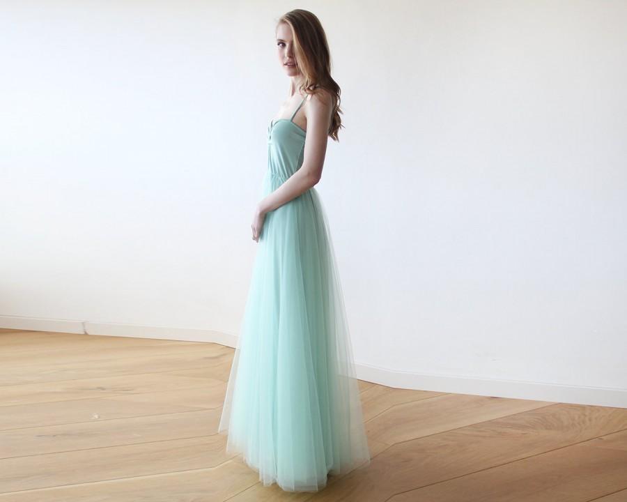 Hochzeit - Mint maxi tulle ballerina gown, Sweetheart neckline maxi mint gown