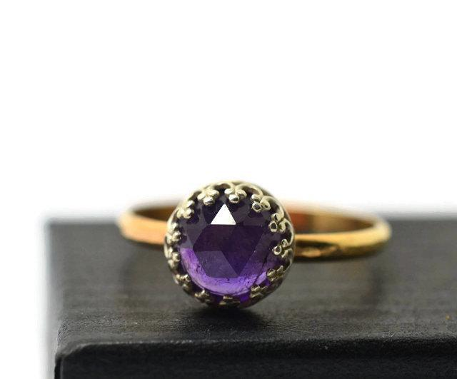 Свадьба - Natural Amethyst Ring, 14K Gold Fill Ring, Purple Gemstone Engagement Ring, Natural Jewel Ring