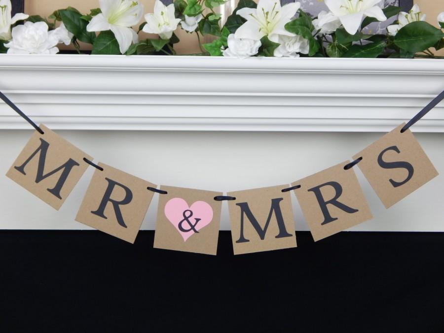 Mariage - Mr and Mrs banner, bridal shower banner, bride and groom banner, bride & groom sign, photo prop, wedding decorations, wedding banner