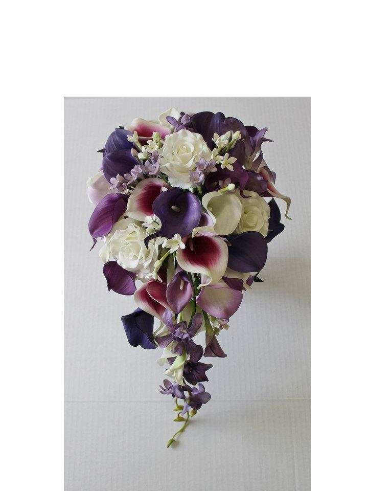 Cascade Wedding Calla Lily Bouquet Purple Bridal Real Touch Bouquets