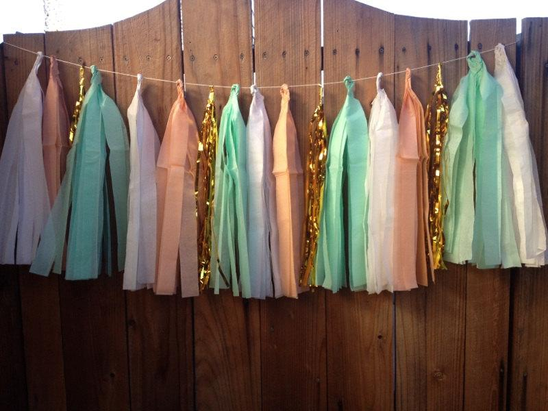 Mariage - 8FT - Tissue Tassel Garland -Choose your colors