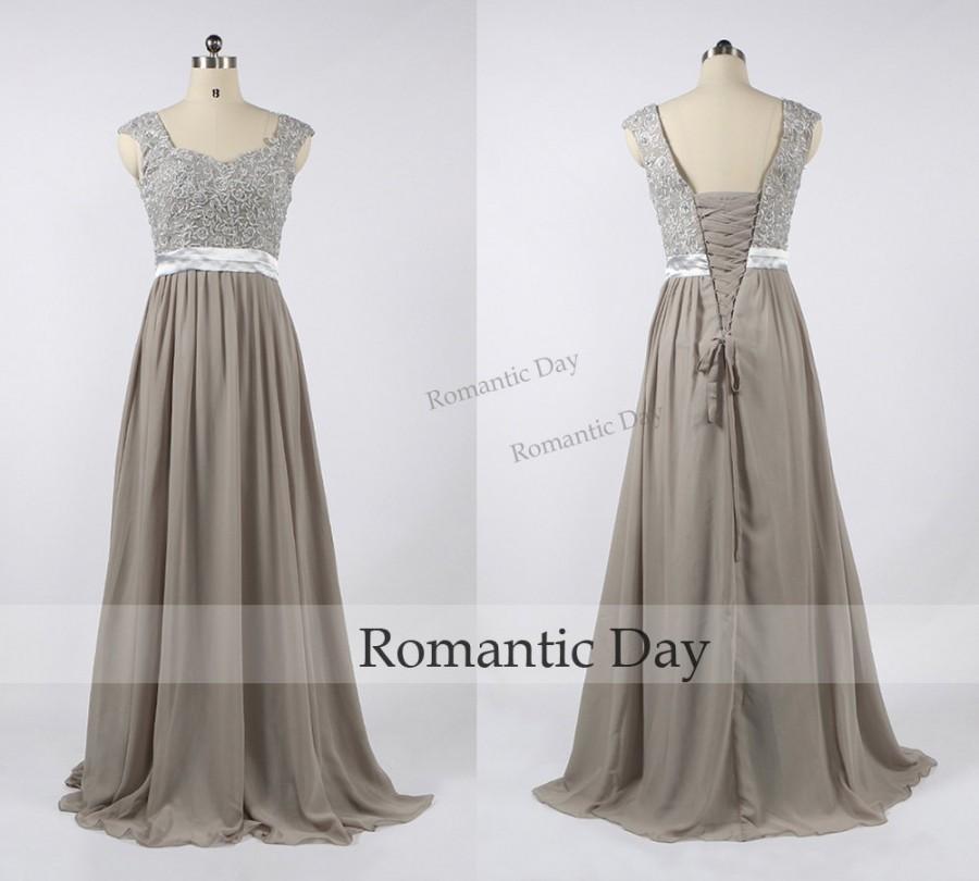 Hochzeit - Elegant Straps Appliques A-Line Chiffon Grey Long Mother of the Bride Dresses/Mother Dress/Prom Dress Custom Made 0436