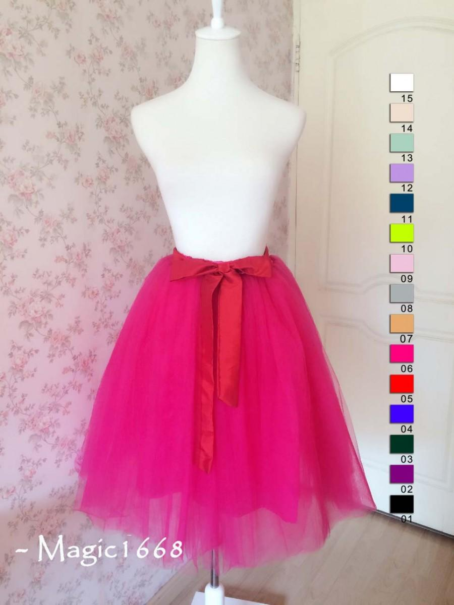 5713789b41 Women Fuchsia Pink Midi Skirt Women Tulle Tea Length Skirt Adult Tutus Hot Pink  Skirt Plus Size Princess skirt bridesmaid skirt Hot(T1815)