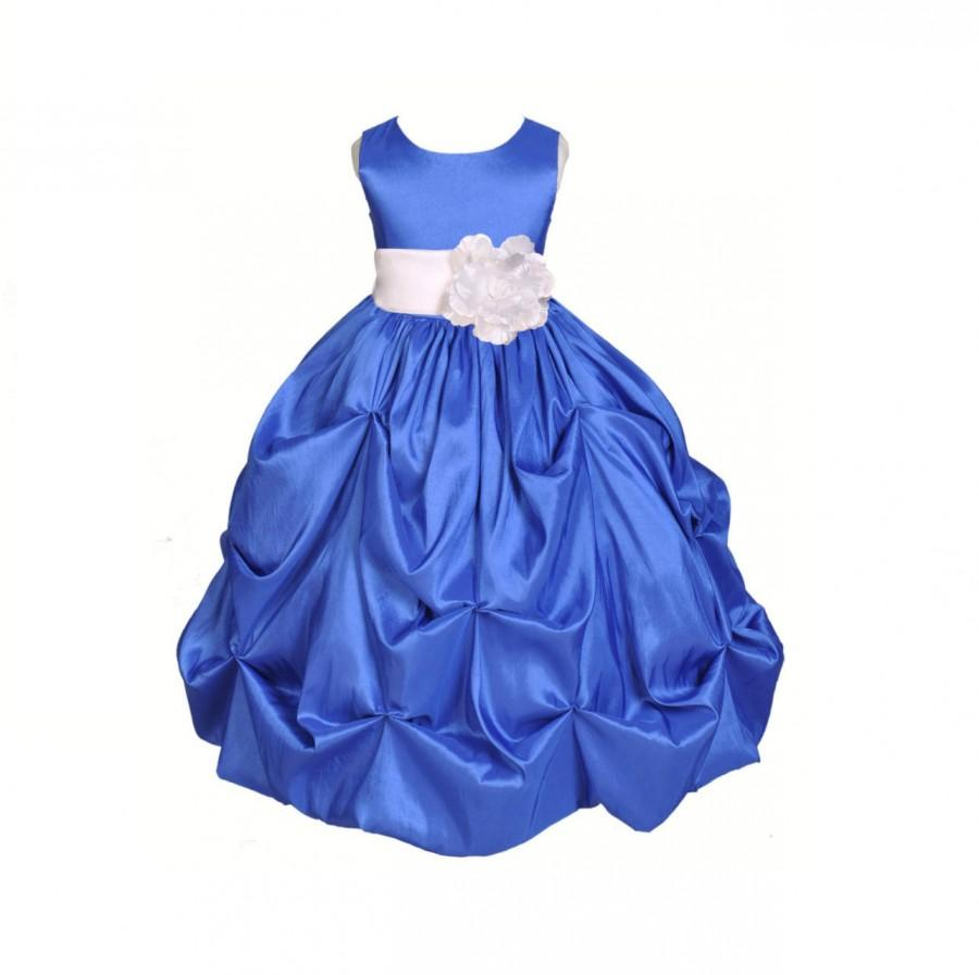 6914623c21f Royal Blue   choice of color sash Taffeta Flower Girl Dress pageant wedding  bridal children bridesmaid toddler 6-9m 12-18m 2 4 6 8 10