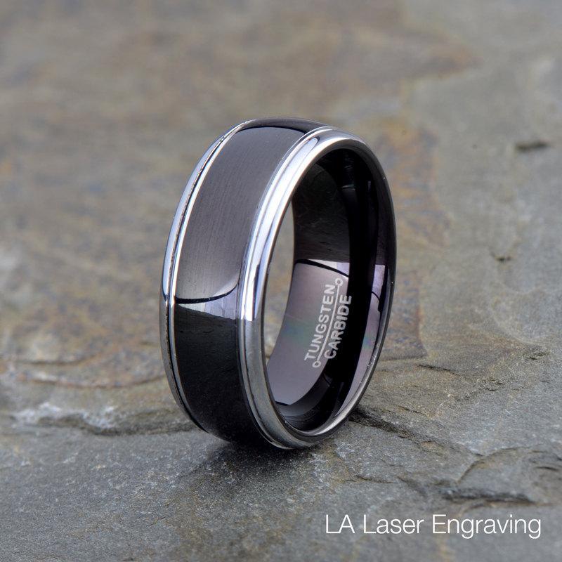 Wedding - Black Tungsten Band, Mens Women's Tungsten Wedding Band, Silver plated edges, 8mm, Comfort fit, Tungsten Carbide, Wedding Band