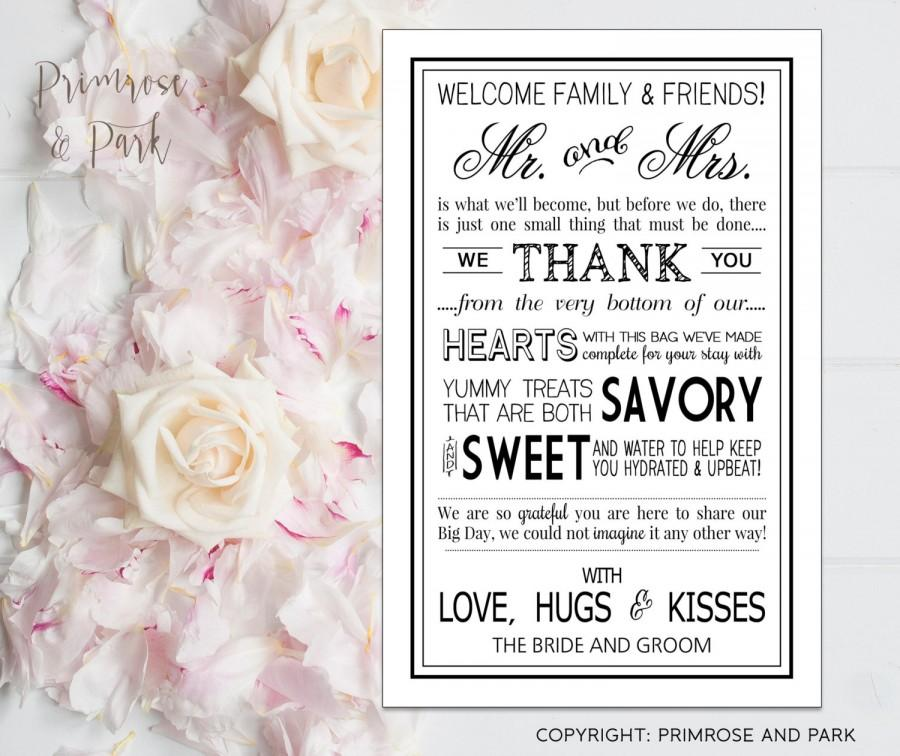 wedding welcome letters in black printable digital file