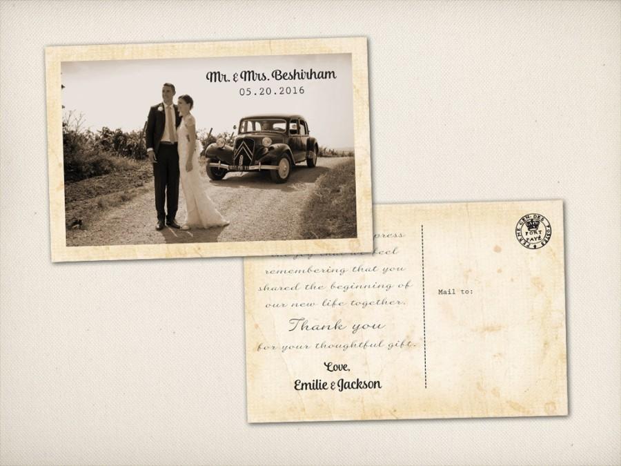 "Свадьба - Thank You Wedding Postcard, Modern Vintage, Rustic Elegant 4"" x 6"" Photo PRINTS (TQ8)"