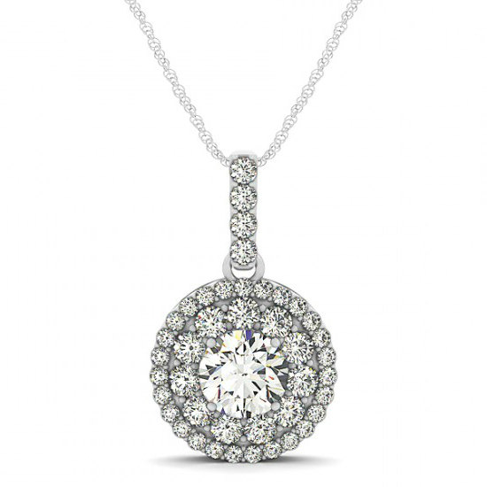 Свадьба - Moissanite Pendant Necklace 14k - USA, UK, AUS, Canada, - 1 Carat Forever One Moissanite & Diamond Halo Pendant Necklace - Mother's Day Gift - Necklaces for Women - For Her - For Mom