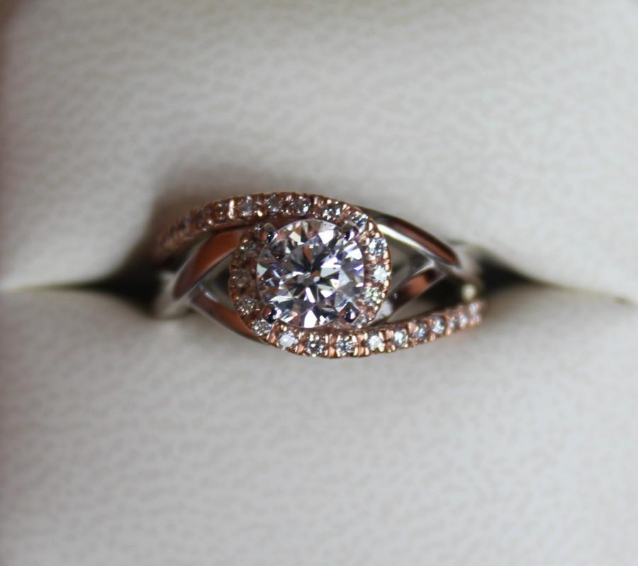 Wedding - Diamond Bypass Swirl Engagement Rings 14k Rose Gold - Diamond & Twist Halo Pave Bypass Wedding Engagement Ring 14k White and Rose Gold - Forever One Moissanite Center Gem Also Available - Raven Fine Jewelers