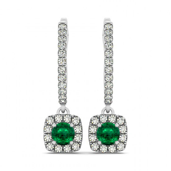Emerald Diamond Earrings 14k White Gold Mother S Day Gifts For Women Fine Jewelry Jewellery