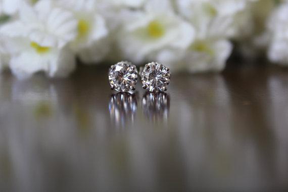 Свадьба - 1 Carat Diamond Stud Earrings 14k White Gold - Raven Fine Jewelers - 5mm Diamond Stud Earrings - 0.50 ct each - Diamond Earrings for Women - GIA Certified