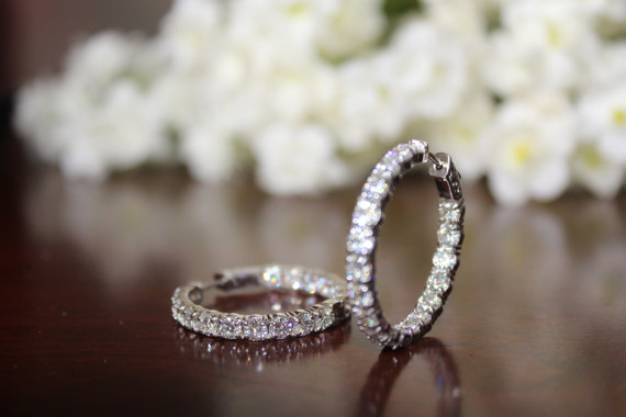 5 Carat Diamond Hoop Earrings By Michael Raven Fine Jewelers 40 14k White Gold 30mm Inside Outside