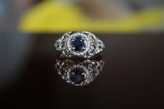 Wedding - Sapphire Engagement Rings - Michael Raven - Rick Lara - 1 Carat Sapphire & Diamond Halo Engagement Ring - Antique Inspired Engagement Ring, Vintage Style - Blue Sapphire Engagement Rings for Women