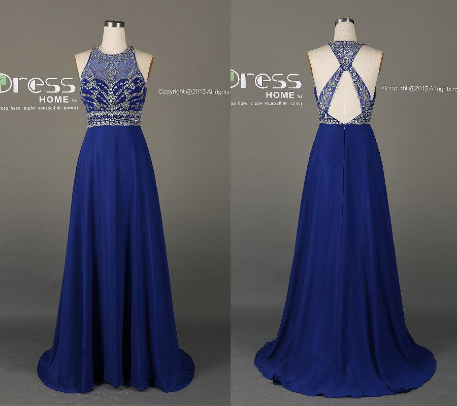 Royal Blue High Neck Beading Long Prom Dress New Criss Cross Back Dresses Silver Party DH199
