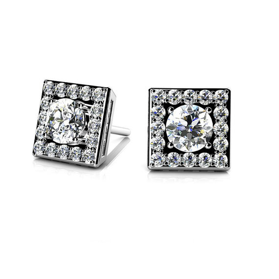 Свадьба - Diamond Earrings by Michael Raven - Raven Fine Jewelers - 1 Carat Diamond Square Stud Earrings 14k White Gold, 18k or Platinum - Diamond Studs - Square Halo Earrings - Anniversary Gift