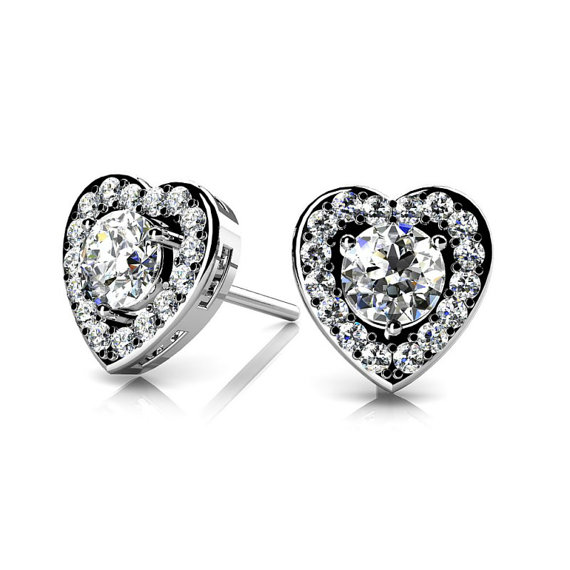 Boda - Diamond Heart Stud Earrings by Michael Raven - Raven Fine Jewelers - 1 Carat Diamond Heart Stud Earrings 14k White Gold, 18k or Platinum - Diamond Studs - Heart Halo Earrings - Christmas or Anniversary Gifts