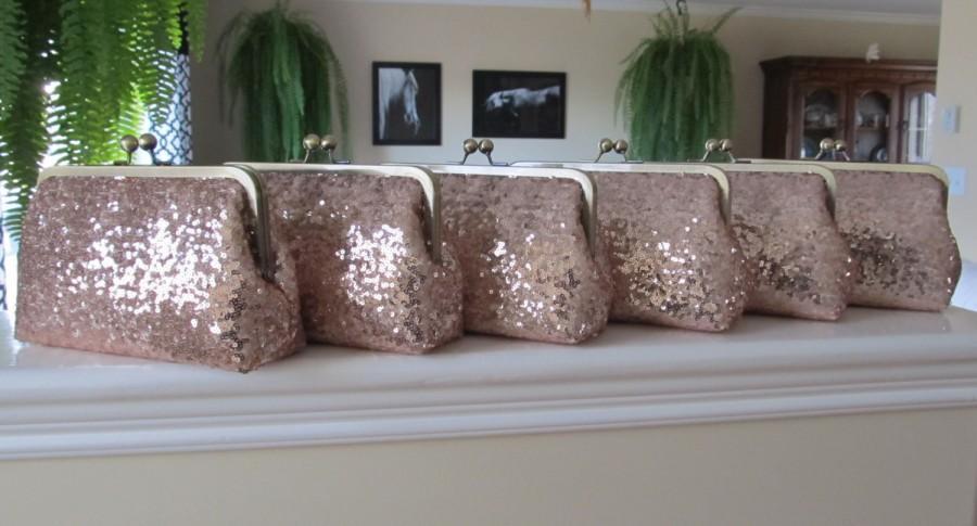 Mariage - SALE Rose Gold Blush Sequin Clutch Set Of 6,Wedding Accessories,Bridal Accessories,Wedding Clutch,Bridesmaid Clutch, Bridal Purse