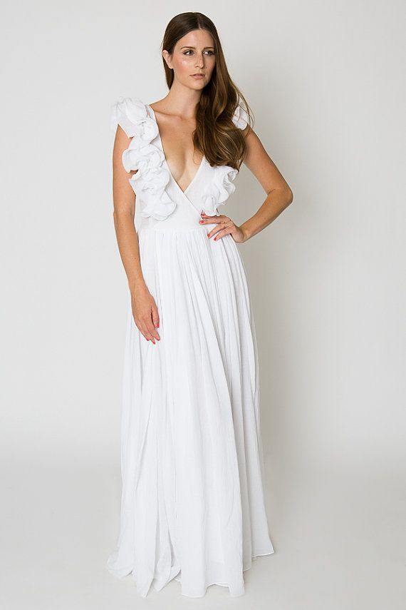 Collection White Gauze Maxi Dress Pictures - Reikian