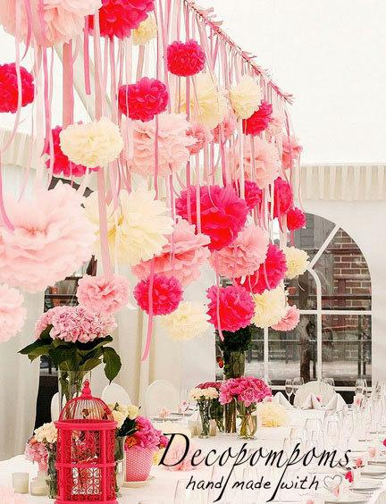 Mariage - 75 POMPOM SET - various sizes - wedding party decorations pom poms - hanging paper flowers