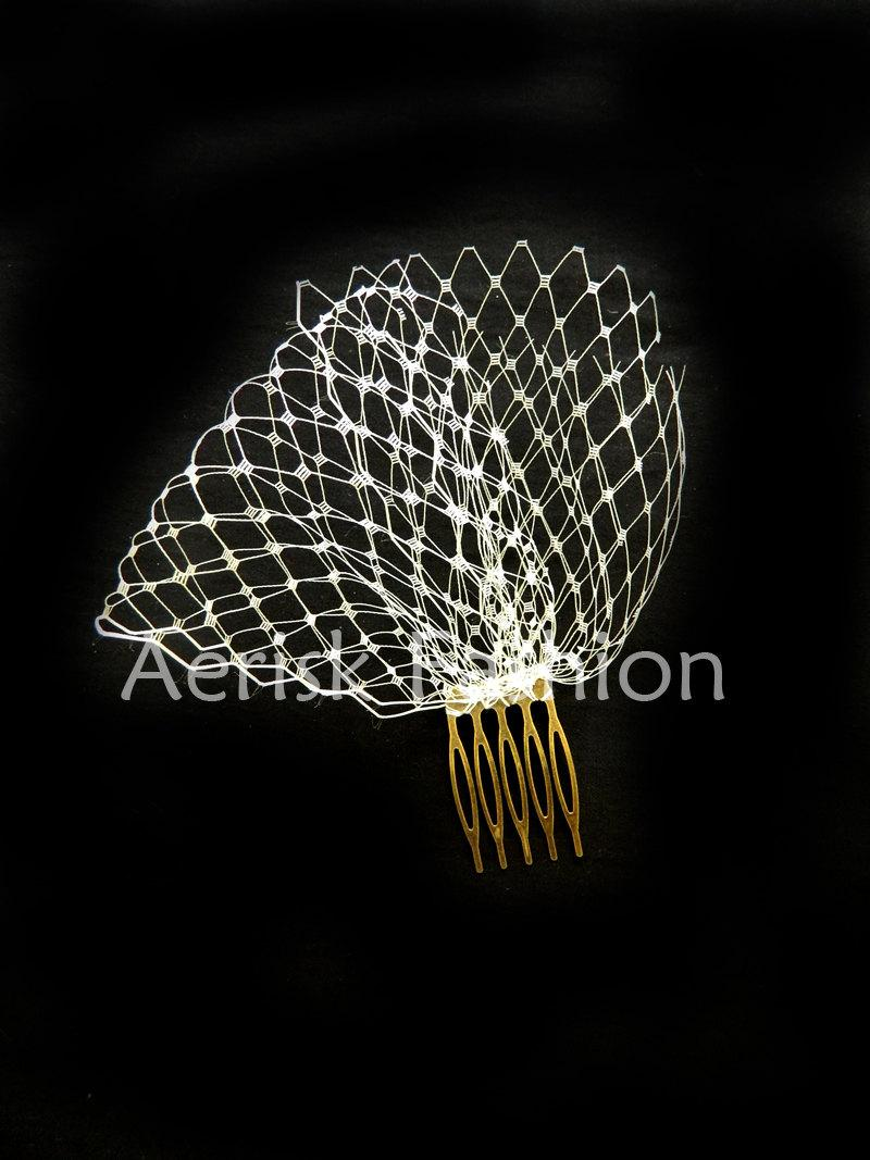 Hochzeit - Mini Birdcage veil fascinator (IVORY) -  OTHER color netting available white, black, red, and more
