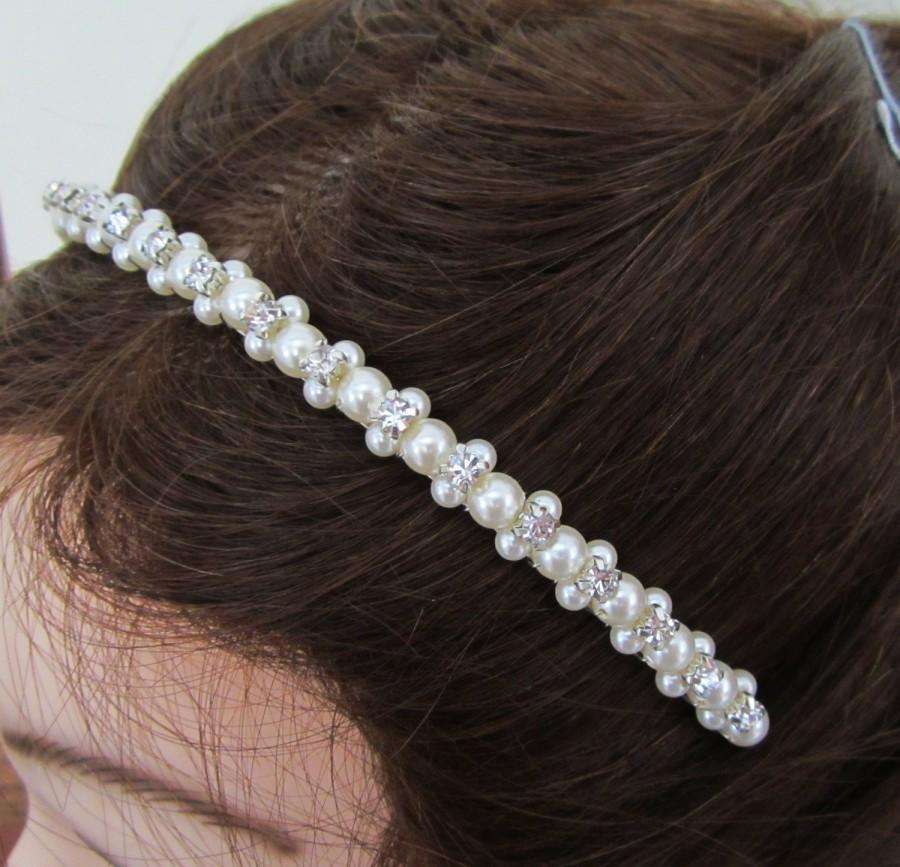 Свадьба - Pearl Bridal Headband. Pearl Hairpiece. Pearl Headband.