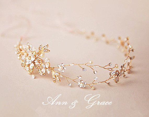 Mariage - Golden Blossom Hair Vine, Crystal and Pearl Bridal Headband, Rhinestone Wedding Headpiece