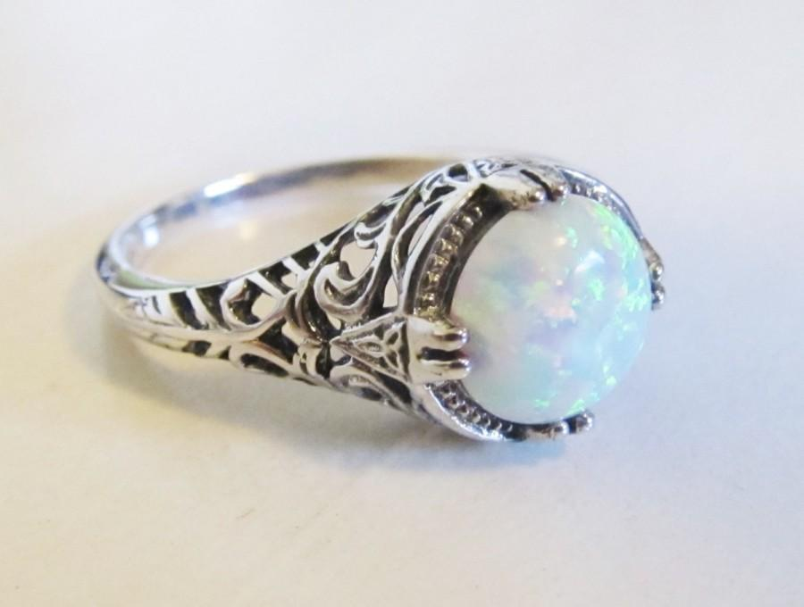Opal Engagement Ring Sterling Silver Rhodium Filigree/ Antique ...