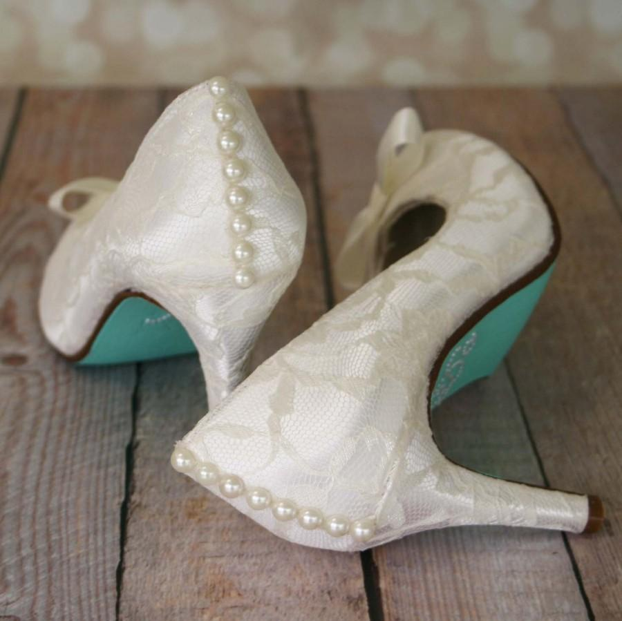 ede3dd3f807 Ivory Wedding Shoes -- Ivory Closed Toe Wedding Heels with Ivory Lace  Overlay