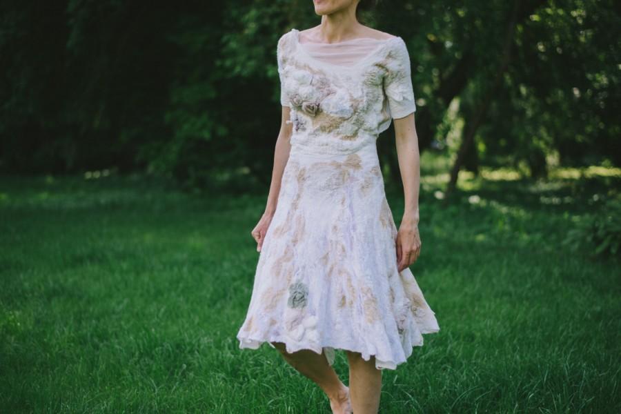 Wedding - Flowering Wedding Gown / Hand Made Nuno Felt / Silk & Softest Wool