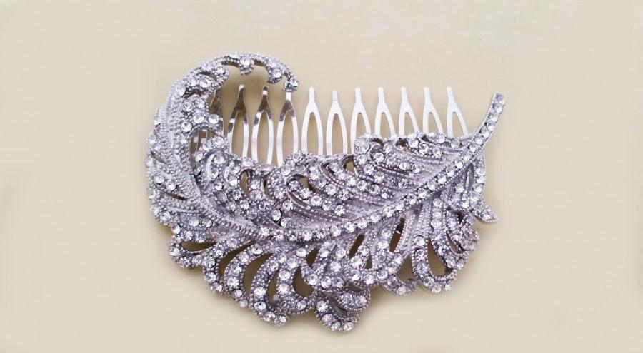 Hochzeit - Bridal Hair Comb, Rhinestone Bridal Hair Piece, Wedding Crystal Hair Comb Peacock, Vintage Bridal Comb Wedding Hair Accessories, Megan